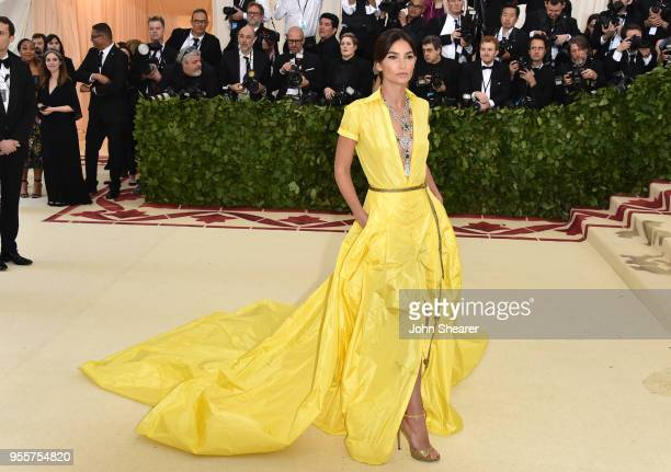 Lily Aldridge attends the Heavenly Bodies Fashion The Catholic Imagination Costume Institute Gala at The Metropolitan Museum of Art on May 7 2018 in...