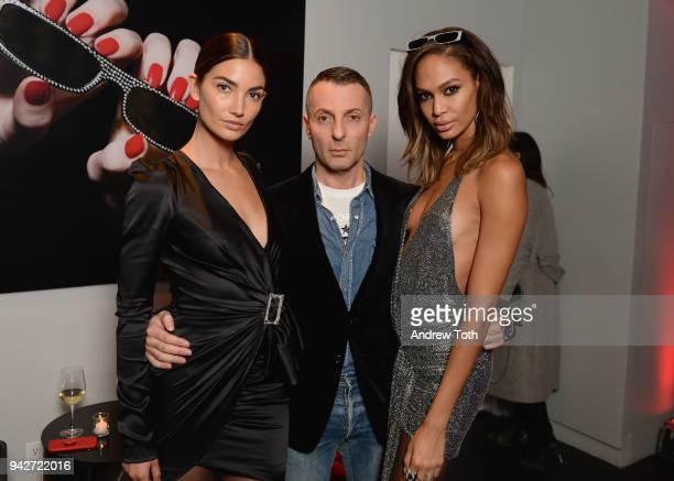 Lily Aldridge Designer Alexandre Vauthier and Joan Smalls attend the Alain Mikli x Alexandre Vauthier Launch Party on April 5 2018 in New York City