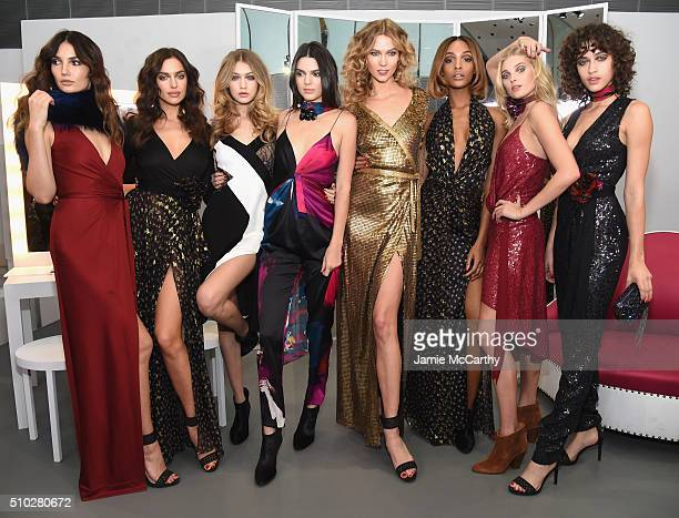 Lily Aldridge Irina Shayk Gigi Hadid Kendall Jenner Karlie Kloss Jourdan Dunn Elsa Hosk and Alanna Arrington pose in the Diane Von Furstenberg Fall...
