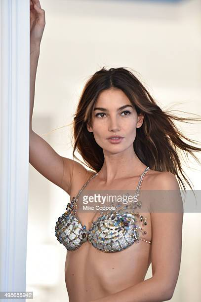 Lily Aldridge is seen behindthescenes during Victoria's Secret Fantasy Bra campaign September 10 2015 in New York City