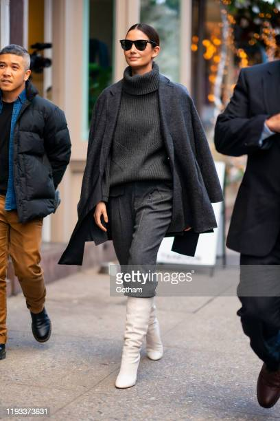 Lily Aldridge is seen in the West Village on December 11, 2019 in New York City.