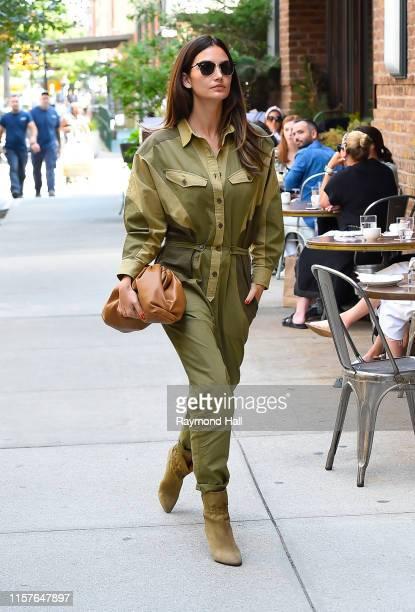 Lily Aldridge is seen walking in tribeca on July 25, 2019 in New York City.