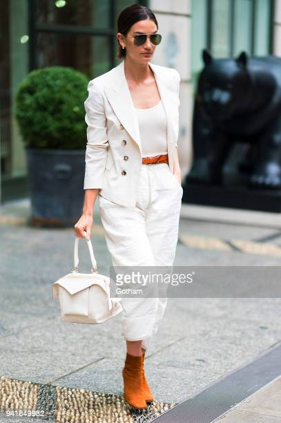 Lily Aldridge is seen wearing Isabel Marant with a Givenchy handbag in SoHo on April 4 2018 in New York City