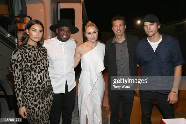 Lily Aldridge P K Subban Lindsey Vonn Guy Oseary and Ashton Kutcher onstage during Nashville Creator Awards hosted by WeWork at Marathon Music Works...