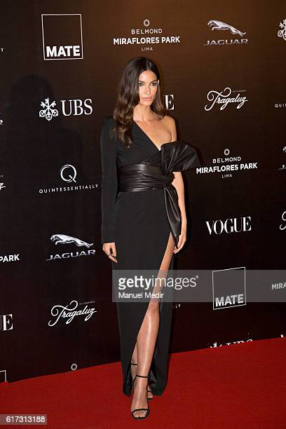 Lily Aldridge poses during Gala MATE 2016 for the inauguration of new display spaces and exhibitions at MATE on October 22 2016 in Lima Peru A...