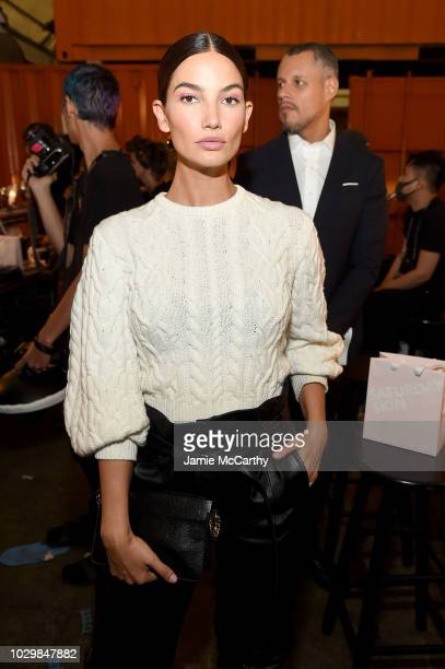 Lily Aldridge prepares backstage at the Brandon Maxwell show during New York Fashion Week at Classic Car Club on September 8 2018 in New York City