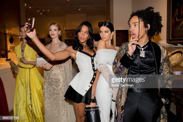 Lily Aldridge Rosie HuntingtonWhiteley Laura Harrier Kendall Jenner and Luka Sabbat attend the Heavenly Bodies Fashion The Catholic Imagination...