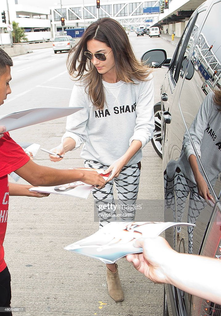 Lily Aldridge seen at LAX airport on March 25, 2014 in Los Angeles, California.
