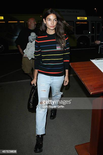 Lily Aldridge seen at LAX on October 19 2014 in Los Angeles California