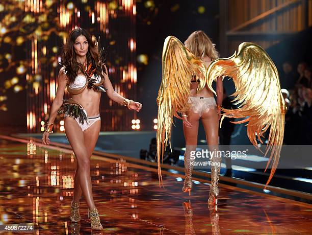 Lily Aldridge walks the runway at the annual Victoria's Secret fashion show at Earls Court on December 2 2014 in London England