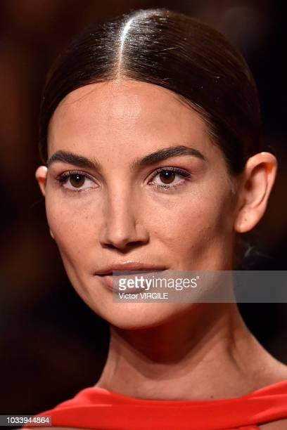 Lily Aldridge walks the runway at the Brandon Maxwell Spring/Summer 2019 fashion show during New York Fashion Week on September 8 2018 in New York...