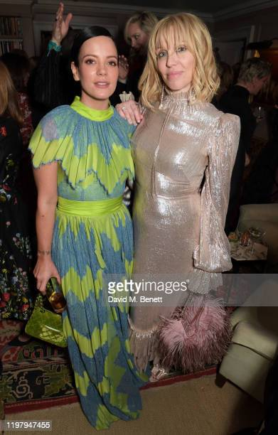 Lily Allen and Courtney Love attend the Charles Finch CHANEL PreBAFTA Party at 5 Hertford Street on February 1 2020 in London England