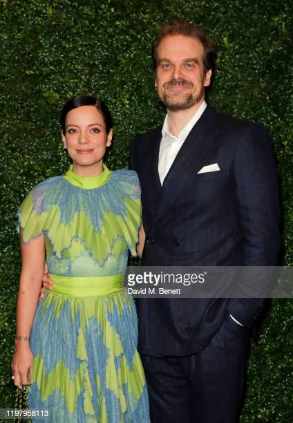 Lily Allen and David Harbour arrive at the Charles Finch & CHANEL Pre-BAFTA Party at 5 Hertford Street on February 1, 2020 in London, England.