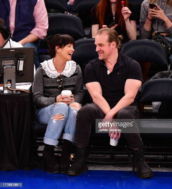 Lily Allen and David Harbour attend New York Knicks v New Orleans Pelicans preseason game at Madison Square Garden on October 18, 2019 in New York...