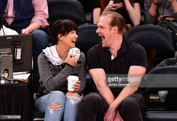 Lily Allen and David Harbour attend New York Knicks v New Orleans Pelicans preseason game at Madison Square Garden on October 18 2019 in New York City