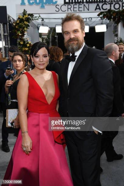 Lily Allen and David Harbour attend the 26th Annual Screen ActorsGuild Awards at The Shrine Auditorium on January 19 2020 in Los Angeles California...