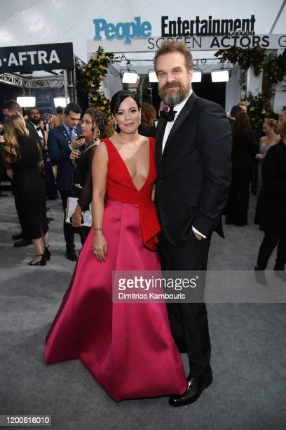 Lily Allen and David Harbour attend the 26th Annual Screen Actors Guild Awards at The Shrine Auditorium on January 19, 2020 in Los Angeles,...