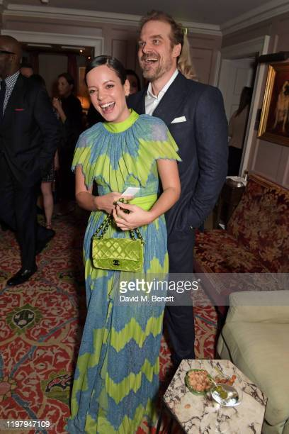 Lily Allen and David Harbour attend the Charles Finch & CHANEL Pre-BAFTA Party at 5 Hertford Street on February 1, 2020 in London, England.