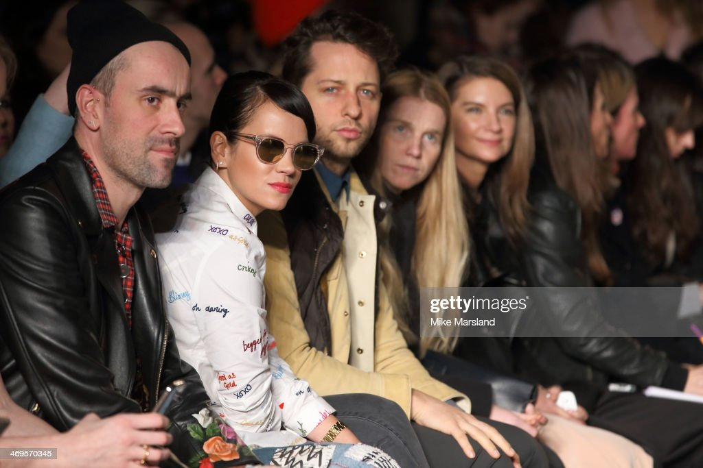 Lily Allen and Derek Blasberg attend the House of Holland show at London Fashion Week AW14 at on February 15, 2014 in London, England.