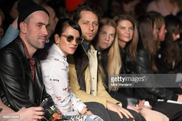 Lily Allen and Derek Blasberg attend the House of Holland show at London Fashion Week AW14 at on February 15 2014 in London England