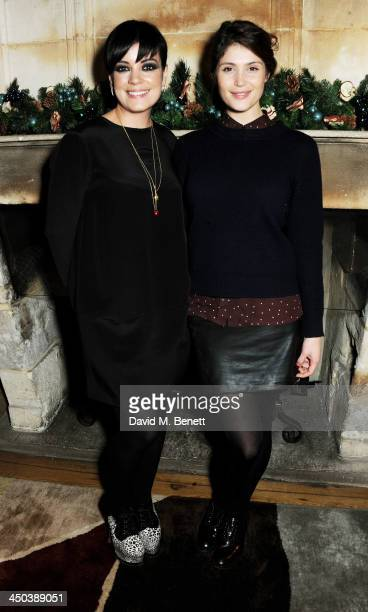 Lily Allen and Gemma Arterton attend a private screening of Saving Mr Banks hosted by Lily Allen at the Charlotte Street Hotel on November 18 2013 in...