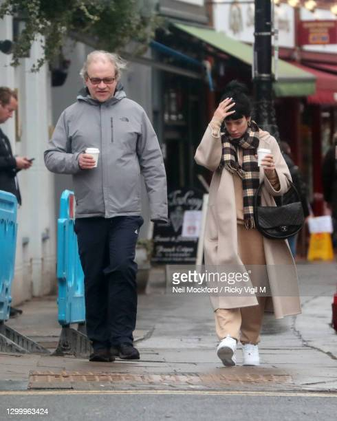 Lily Allen and Harry Enfield seen in Primrose Hill on February 02, 2021 in London, England.