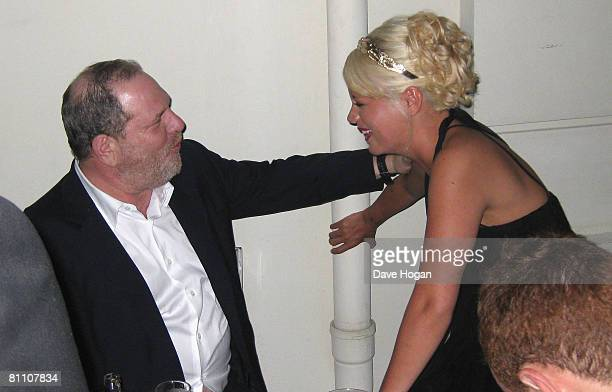 Lily Allen and Harvey Weinstein speak at the How To Lose Friends and Alienate People Party at Festival House during the 61st International Cannes...