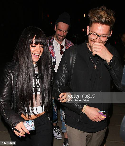 Lily Allen and Henry Holland attending The Glamour of Italian Fashion 19452014 private view at The Victoria Albert Museum on April 2 2014 in London...