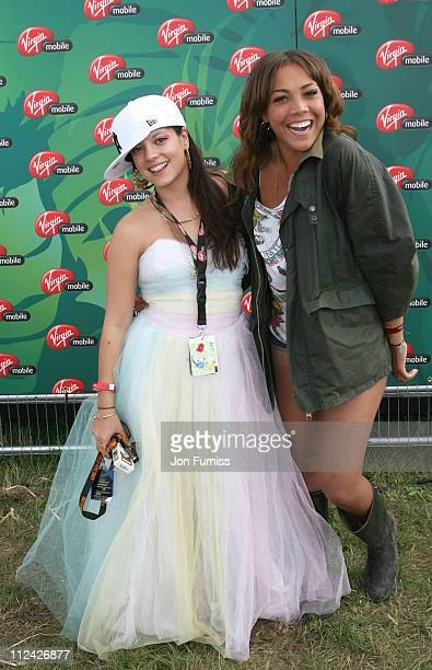 Lily Allen and Miquita Oliver in the Virgin Mobile Louder Lounge at the V Festival