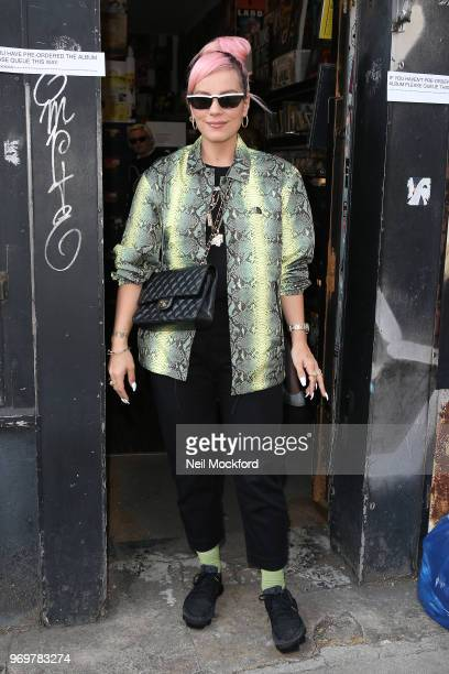 Lily Allen arrives at Rough Trade in Notting Hill to sign copies of her album 'No Shame' on June 8 2018 in London England