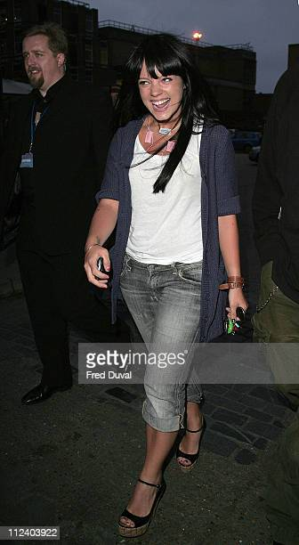 Lily Allen arriving at the LG party in jeans before getting changed for the official arrival