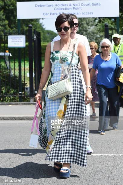 Lily Allen attends day 10 of the Wimbledon 2019 Tennis Championships at All England Lawn Tennis and Croquet Club on July 11 2019 in London England