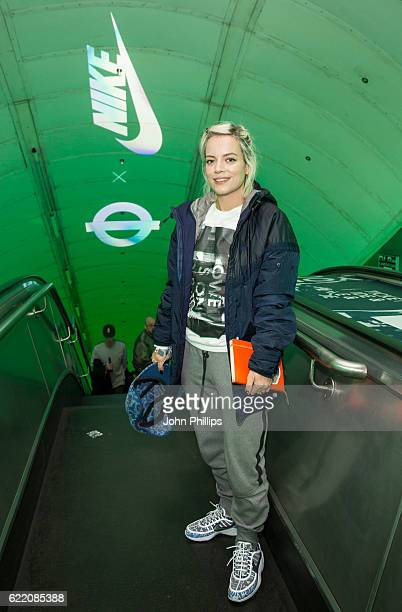 Lily Allen attends NikeLab x Roundel launch at Charing Cross underground Station on November 9 2016 in London England