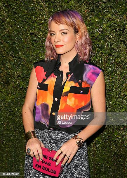 Lily Allen attends the Chanel And Charles Finch PreOscar Dinner at Madeo Restaurant on February 21 2015 in West Hollywood California