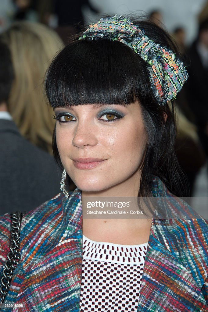 Lily Allen attends the Chanel show as part of Paris Fashion Week Haute-Couture Spring/Summer 2014, at Grand Palais in Paris.