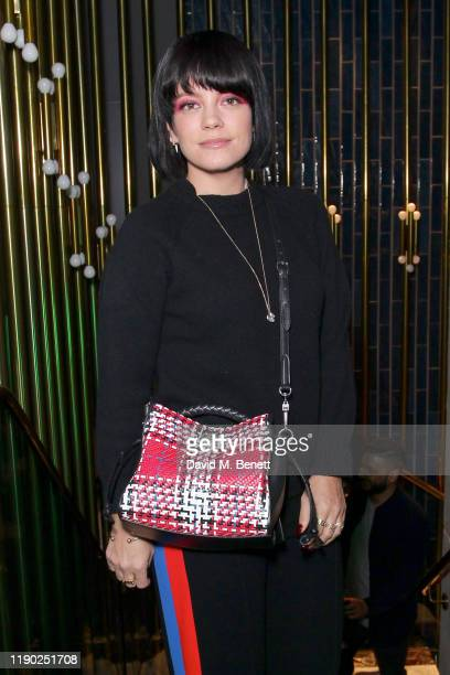 Lily Allen attends the Flannels campaign launch event with a special performance by AJ Tracey on November 26 2019 in London England