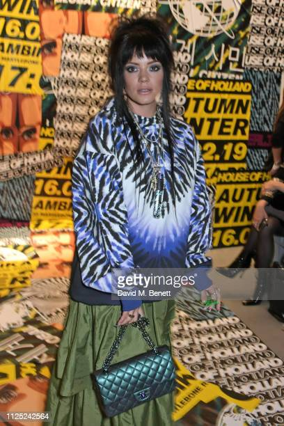 Lily Allen attends the House of Holland AW19 London Fashion Week catwalk show showcasing the limitededition Vype ePen 3 / vaping pendant created by...