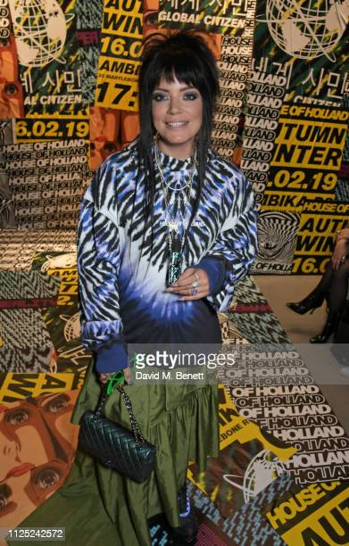 Lily Allen attends the House of Holland AW19 London Fashion Week catwalk show, showcasing the limited-edition Vype ePen 3 / vaping pendant created by...