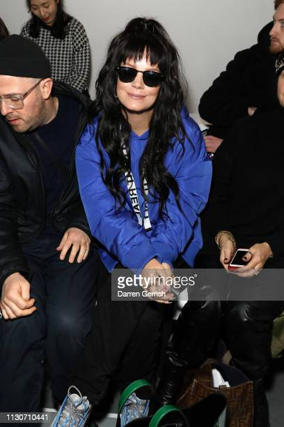 Lily Allen attends the Izzue show during London Fashion Week February 2019 at the BFC Show Space on February 19, 2019 in London, England.