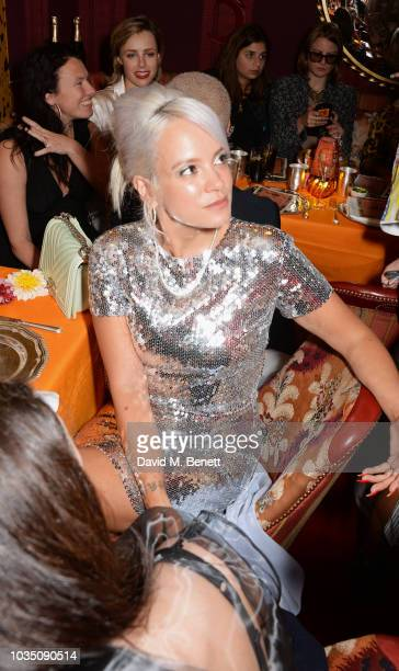 Lily Allen attends the LOVE Magazine 10th birthday party with PerrierJouet at Loulou's on September 17 2018 in London England