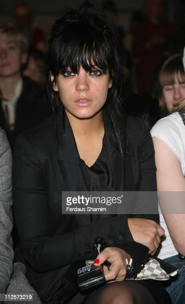 Lily Allen attends the PPQ show at the London Fashion Week at The Natural History Museum on February 11 2008 in London England
