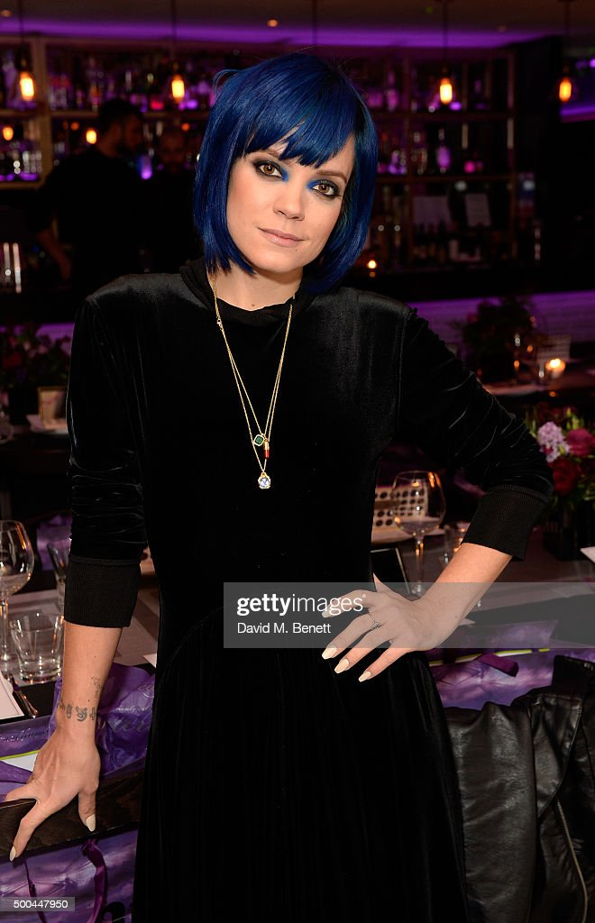 Lily Allen attends the Urban Decay x Gwen VIP dinner at Hotel Chantelle on December 8, 2015 in London, England.
