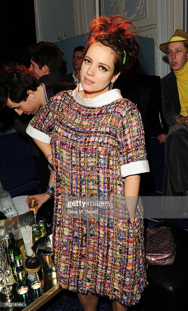 Lily Allen attends the Warner Music Group Post BRIT Party In Association With Samsung at The Savoy Hotel on February 20, 2013 in London, England.