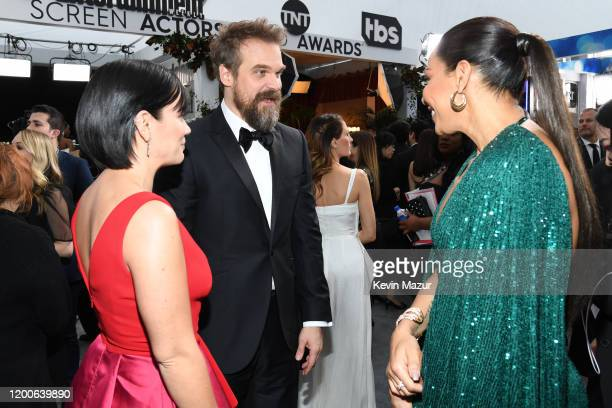 Lily Allen David Harbour and Amanda Brugel attend the 26th Annual Screen ActorsGuild Awards at The Shrine Auditorium on January 19 2020 in Los...