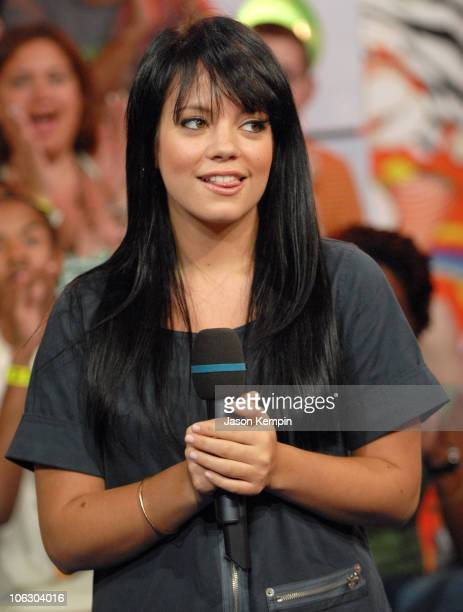 Lily Allen during Emma Roberts Josh Duhamel and Lily Allen Visit MTV's 'TRL' June 12 2007 at MTV Studios in New York City New York United States