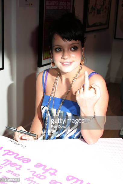 Lily Allen during Lily Allen Charity It's Pop It's Art Signing December 13 2006 at Earlham Street in London Great Britain