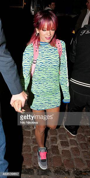Lily Allen is seen arriving at the Chiltern Firehouse Marylebone on August 12 2014 in London England