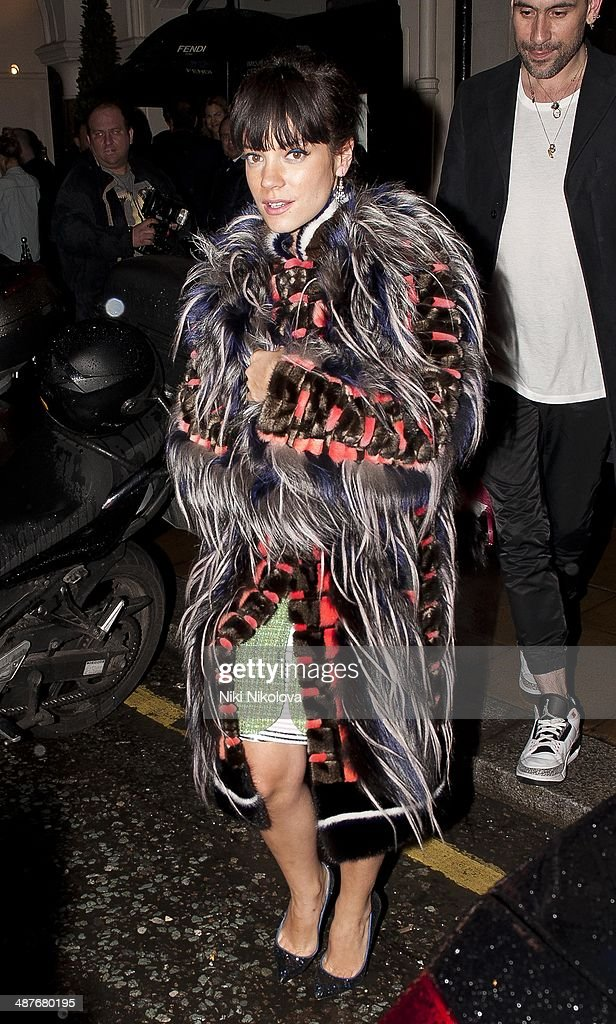 Lily Allen is seen leaving Sotheby's, Mayfair on April 30, 2014 in London, England.