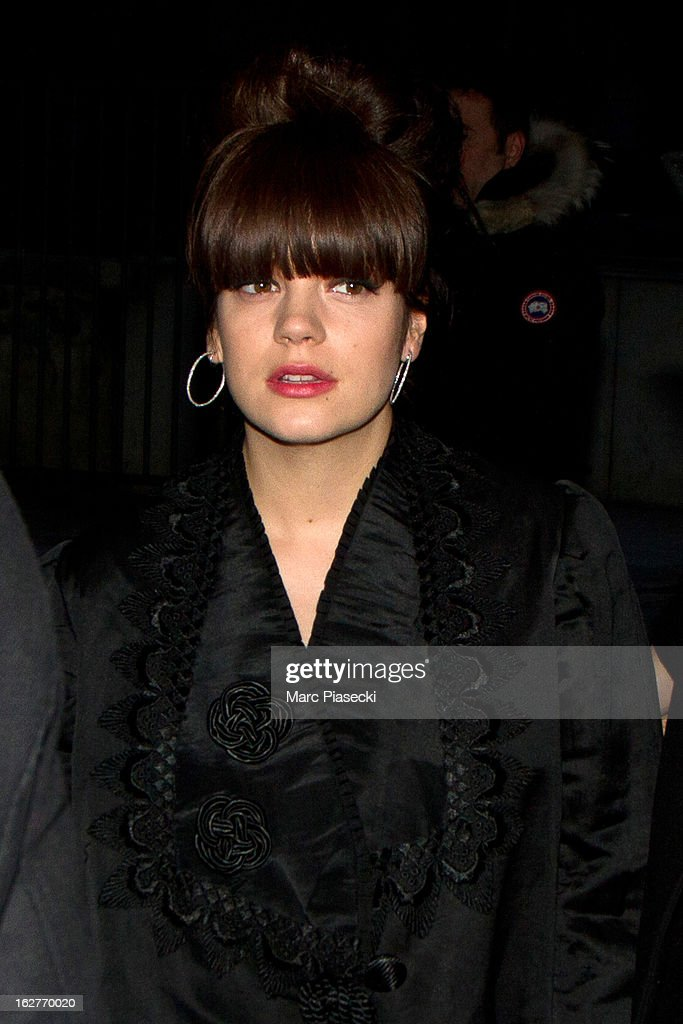 Lily Allen is sighted arriving at the 'ETAM Girls Only' fashion show on February 26, 2013 in Paris, France.