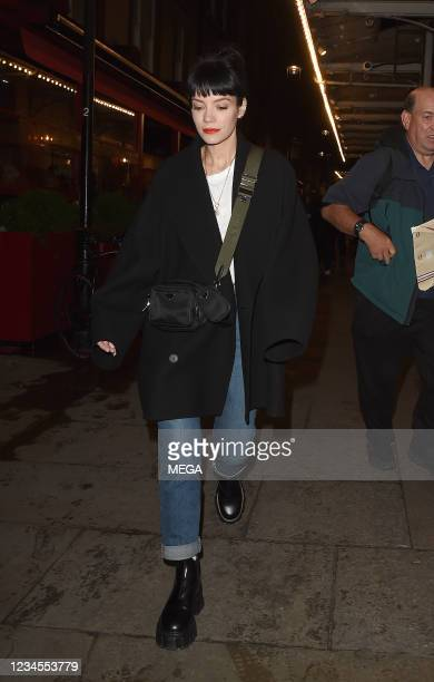 Lily Allen leaving the Noel Coward Theatre, having performed in a production of 2.22 on August 7, 2021 in London, England.